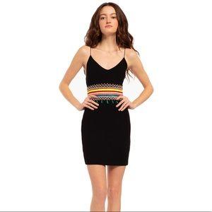 Embroidered Black Mini Dress